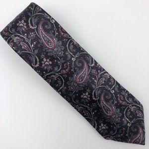 Oscar de la Renta Black Pink Silk Paisley Tie